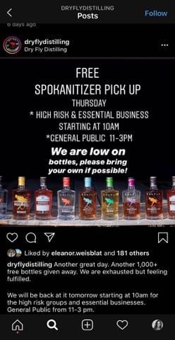 Dry Fly distilling instagram post for Free hand sanitizer.