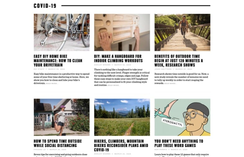 Snapshot of REI recent blog posts related to COVID-19 and how they using communication..