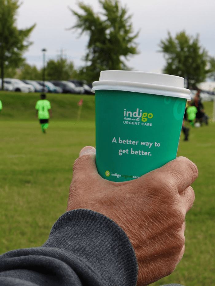 MultiCare Indigo Urgent Care coffee cup advertising donation
