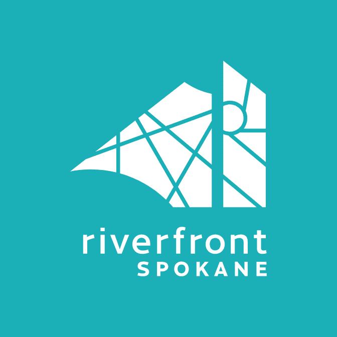 Riverfront Spokane teal reversed logo