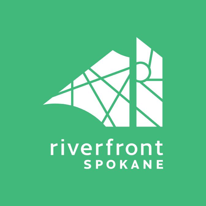 Riverfront Spokane green reversed logo