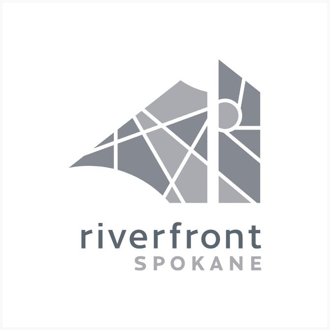 Riverfront Spokane gray variation logo