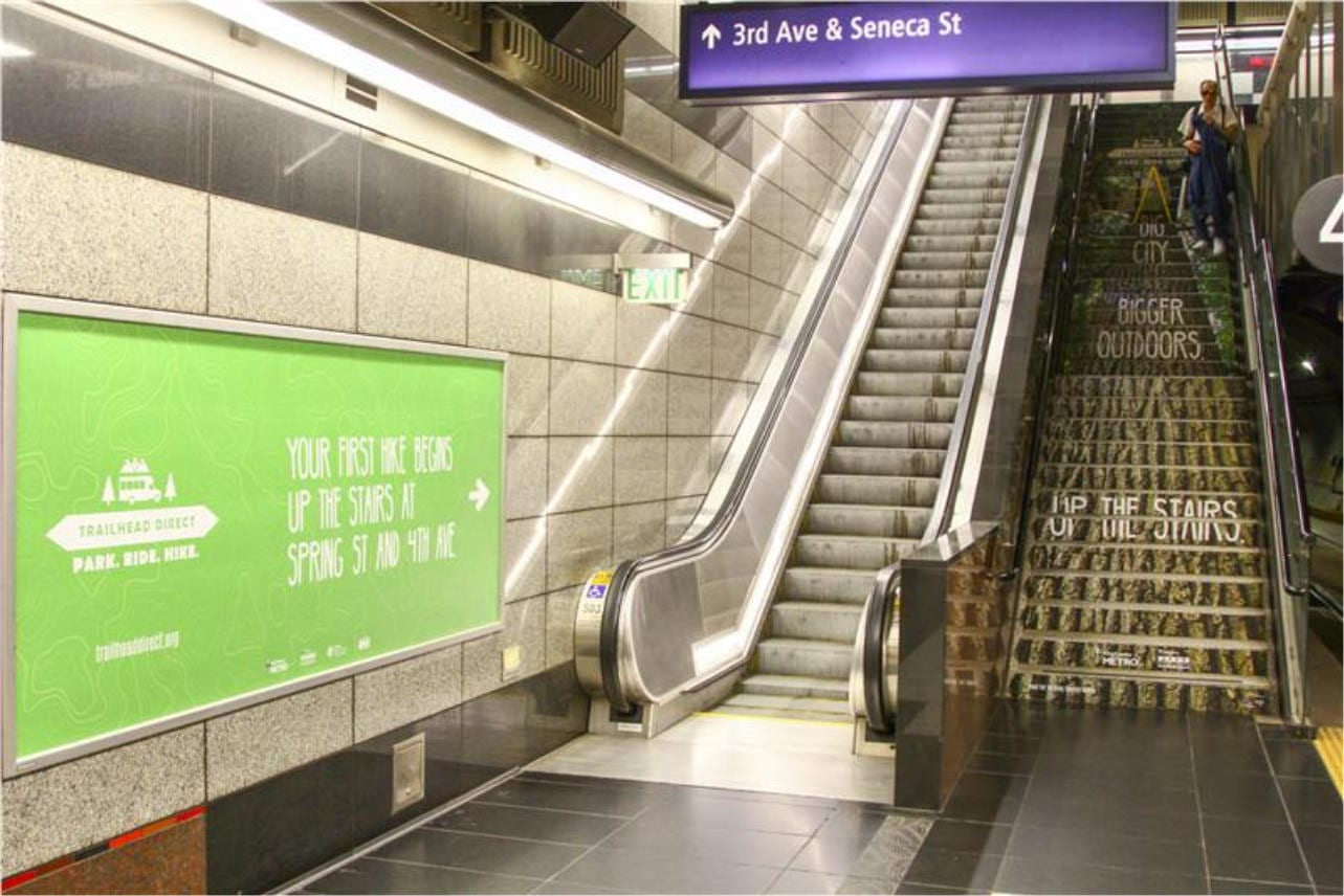 Trailhead Direct King County stair advertising, direction signage
