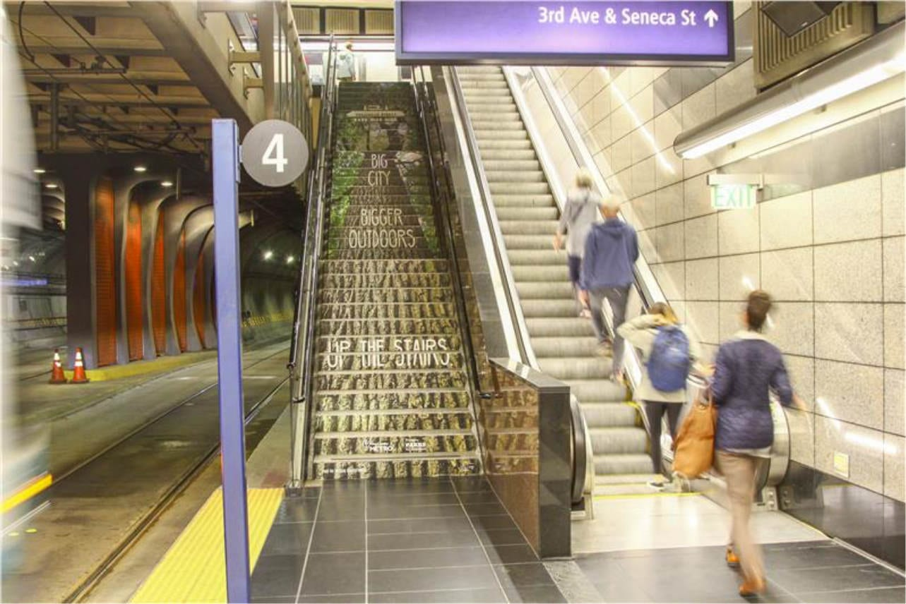 King County Metro stair advertising transportation campaign